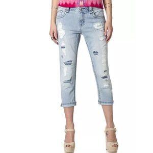 MISS ME Boyfriend Cropped Jeans Light Destroyed
